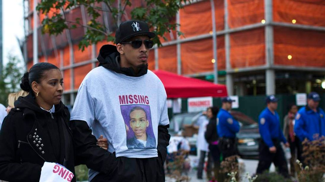 Vanessa Fontaine, mother of Avonte Oquendo, arrives with a family friend for a vigil for her missing son in Queens, New York