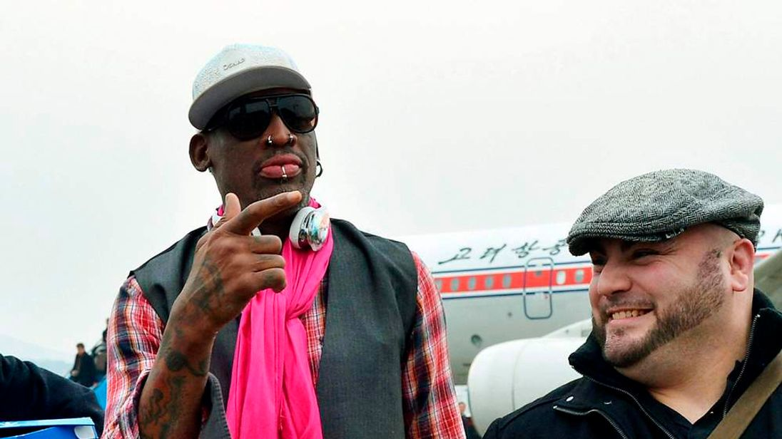 Former NBA Star Dennis Rodman Arrives At Pyongyang Airport