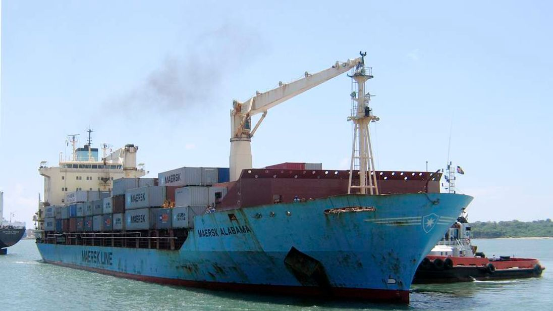 U.S.-flagged container ship, Maersk Alabama, arrives at the Kenyan coastal sea port of Mombasa