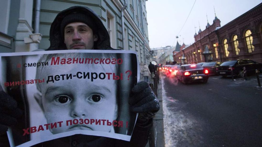 A Russian protests over US adoption ban