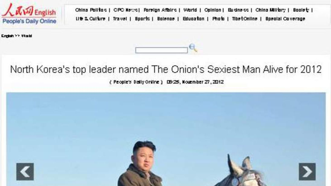 Onion North Korea spoof re sexiest man alive - screen grab