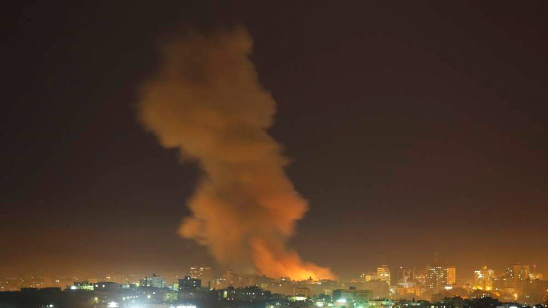 Smoke rises after an Israeli air strike in the northern Gaza Strip.