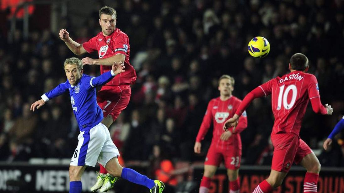Saints' striker Rickie Lambert in action during the Southampton match against Everton