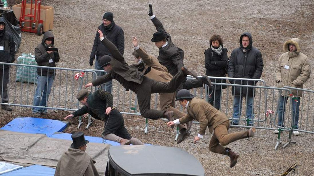 Stuntmen train on the set of Sherlock Holmes 2