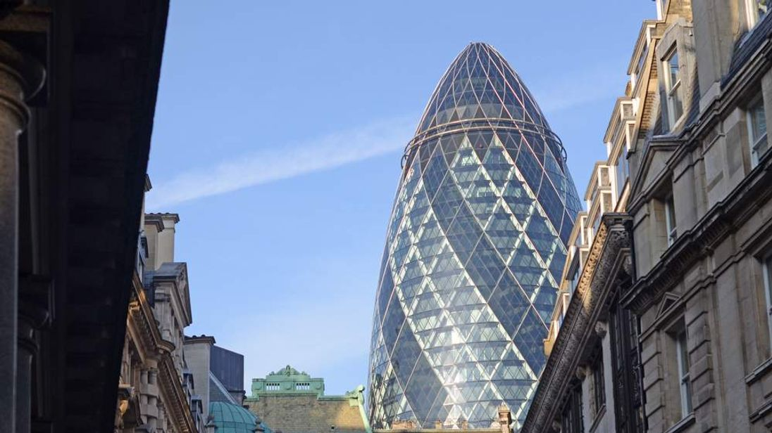 The Gherkin in London as seen from the City of London