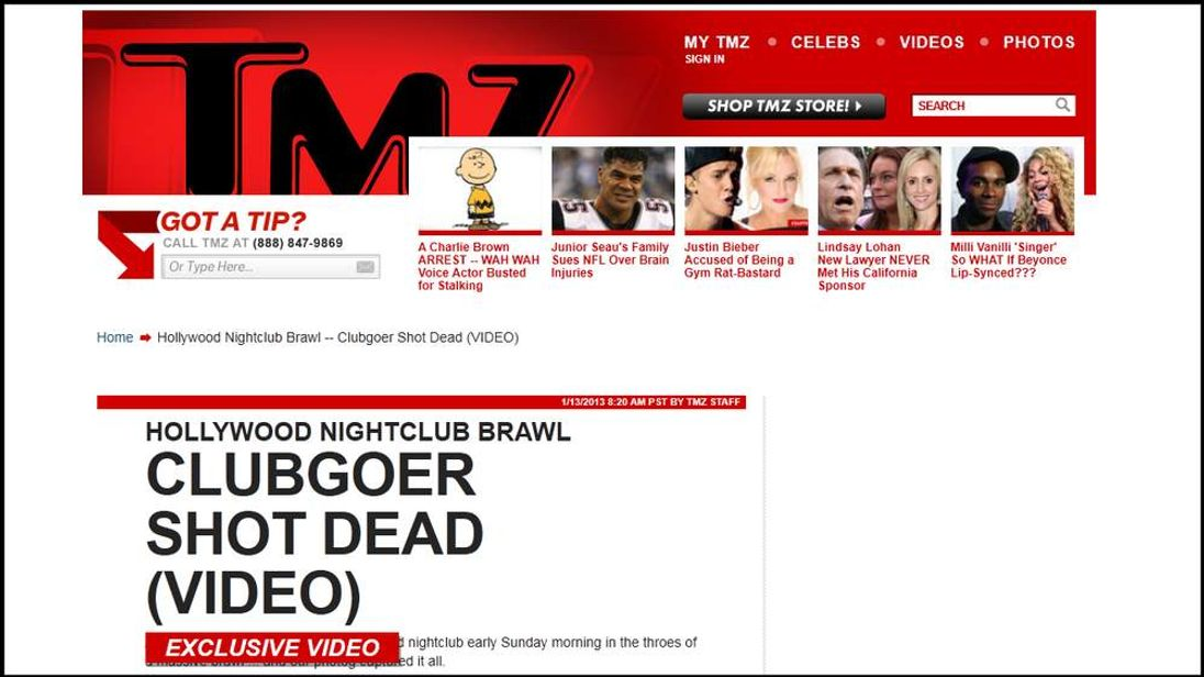 Celebrity website TMZ has been forced to take down a video showing a man being shot dead after reader complaints