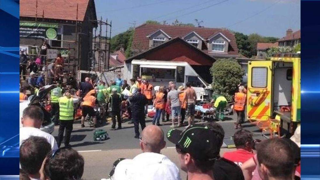 TT race crash scene