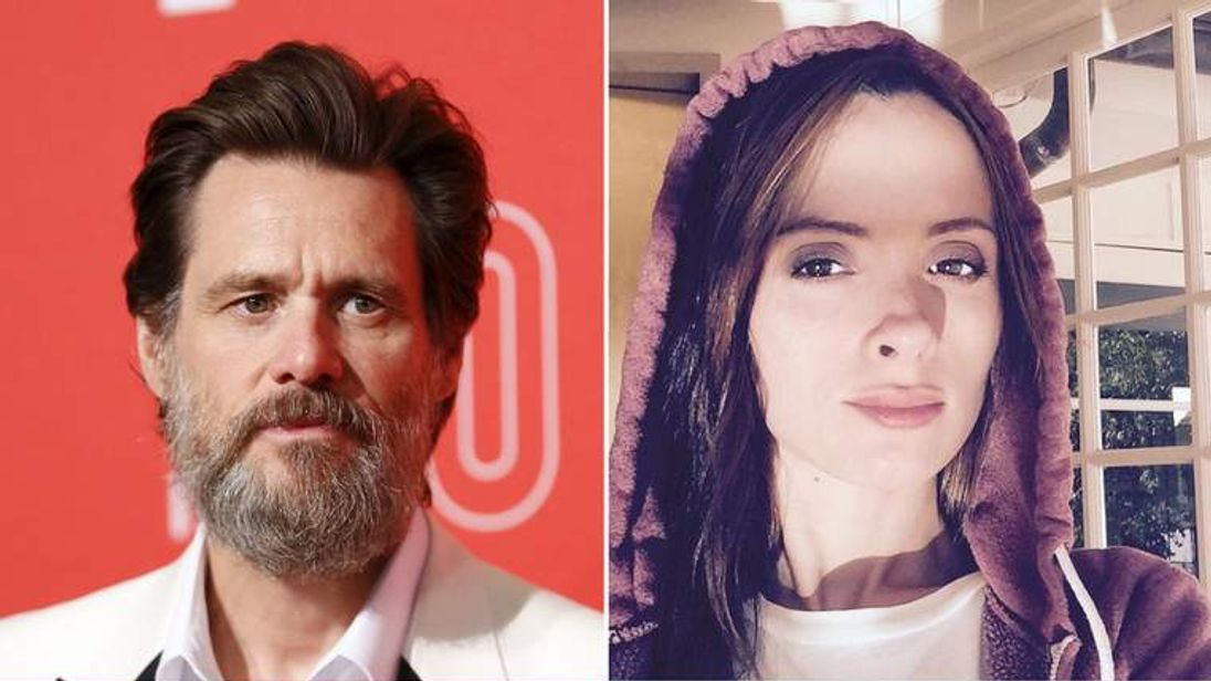 Jim Carrey (L) and Cathriona White