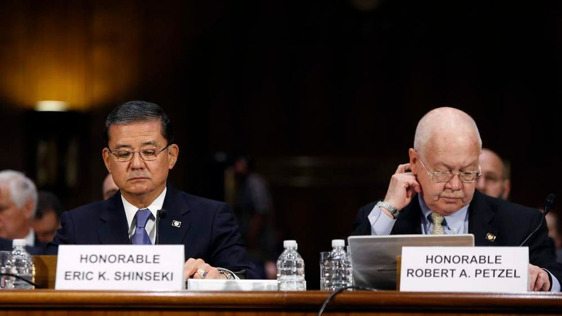 Shinseki and Petzel testify before a Senate Veterans Affairs Committee hearing on VA health care, on Capitol Hill in Washington