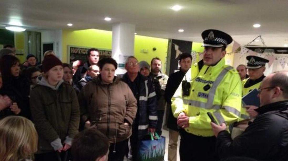 Volunteers being briefed by police in Edinburgh