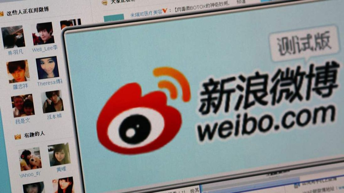 "The logo of Sina Corp's Chinese microblog website ""Weibo"""