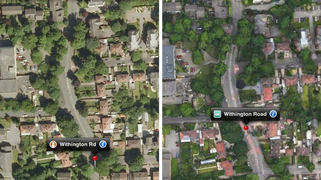 Withington Road in Manchester on Google and Apple maps
