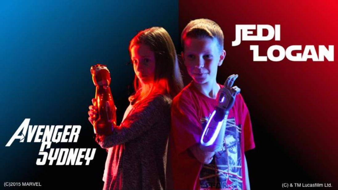 Bionic hands and arms for children using a movie theme