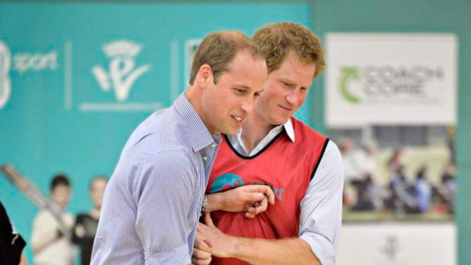 Prince Harry and the Duke of Cambridge play 5 a side football during a visit to a Coach Core project at Gorbals Leisure Centre in Glasgow.