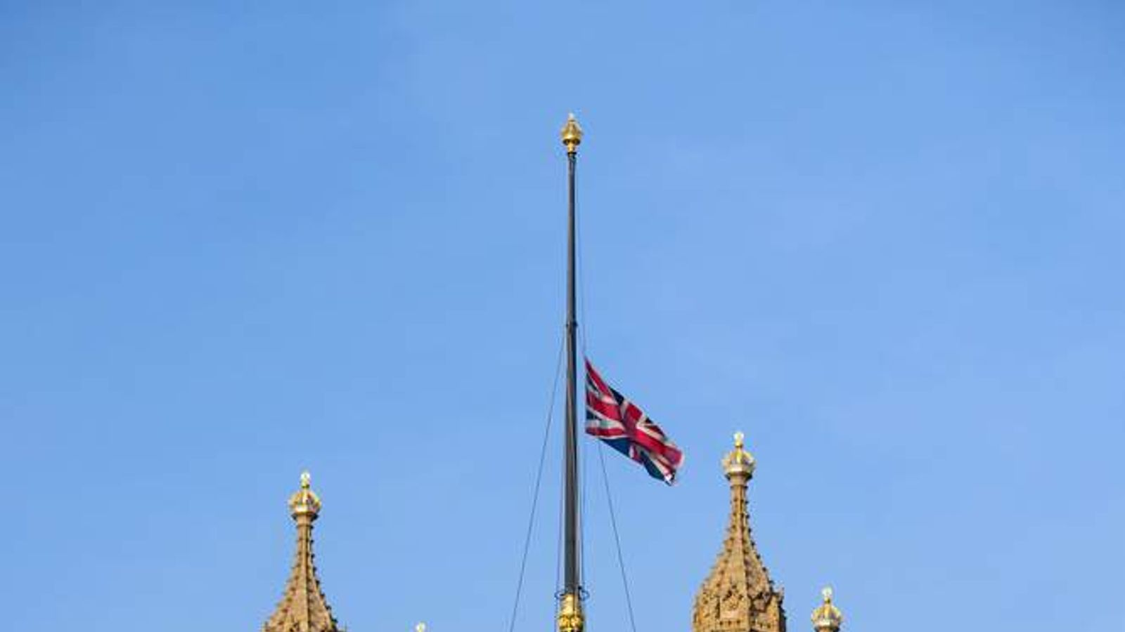The flag at the Houses of Parliament, London, flies at half mast as a mark of respect for King Abdullah of Saudi Arabia, whose death was announced last night