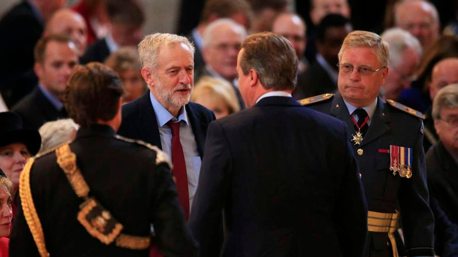 Jeremy Corbyn and David Cameron at Battle of Britain service