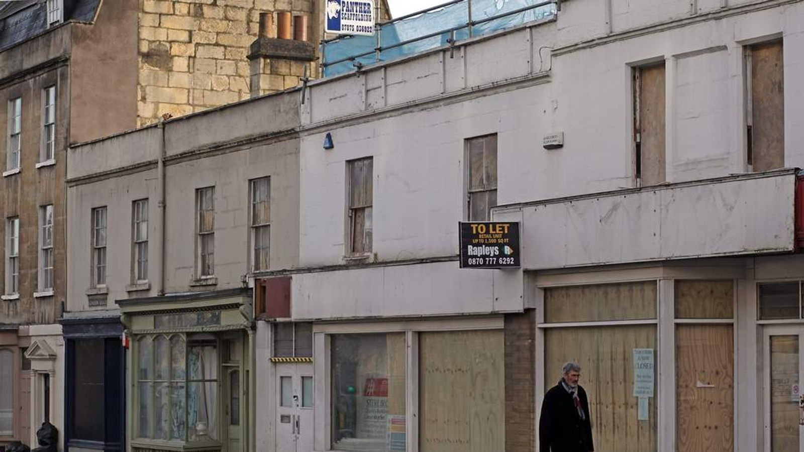 Empty and boarded up shops