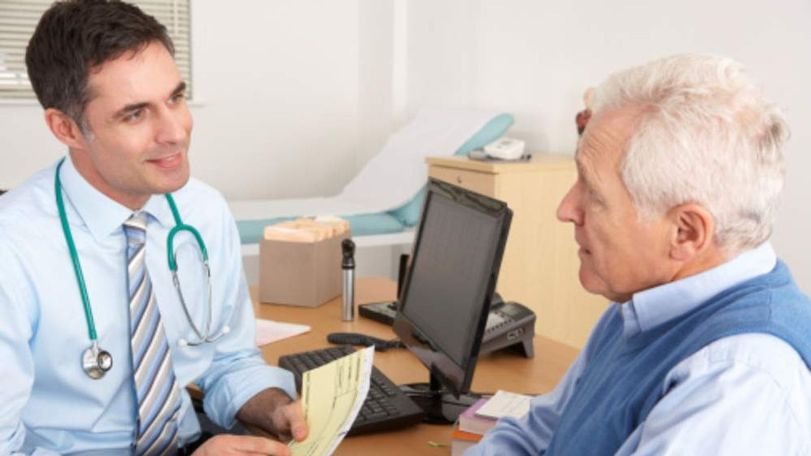 A patient talking to a GP