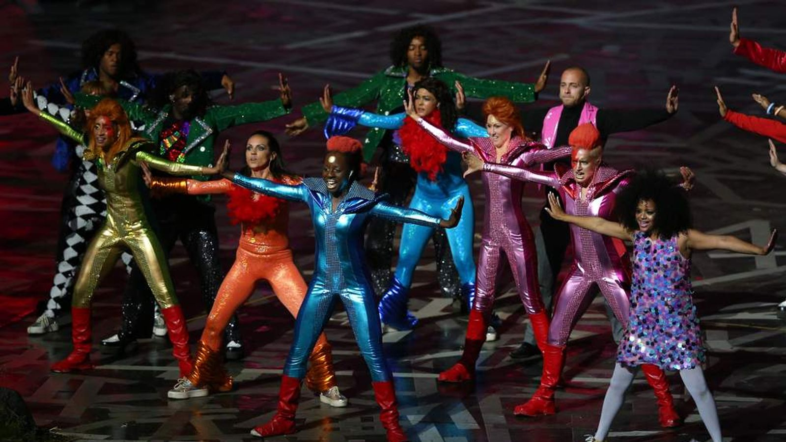 Performers pay tribute to British music during the Opening Ceremony.