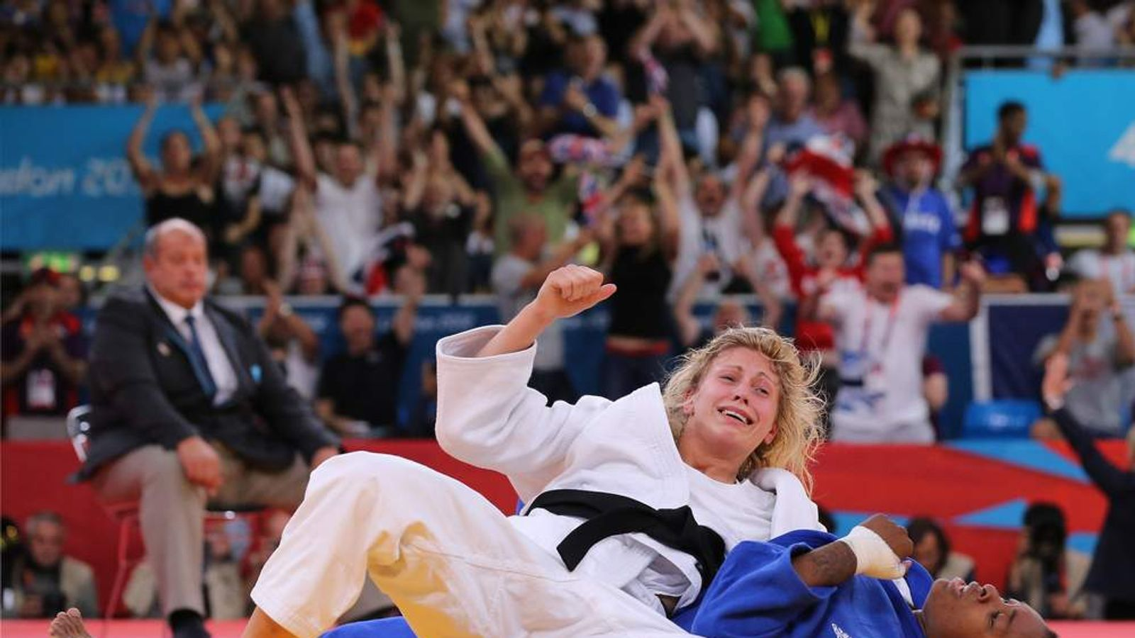 Gemma Gibbons of Great Britain (white) and Audrey Tcheumeo of France compete in the Women's -78 kg Judo on Day 6