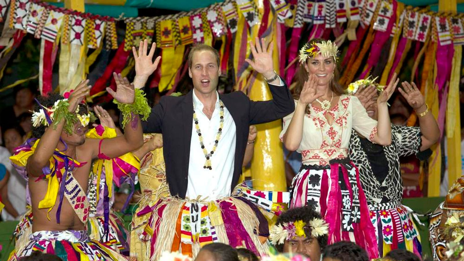 Prince William and wife Kate dance in Tuvalu in South Pacific