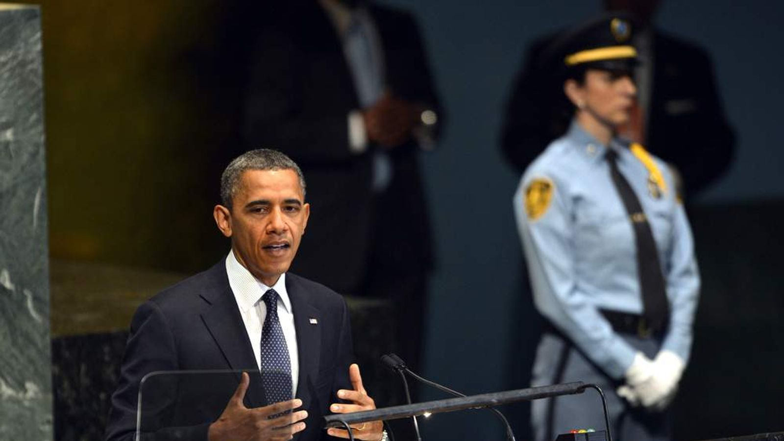 US President Barack Obama speaks during the 67th session of the United Nations General Assembly at the United Nations in New York on September 25, 2012.