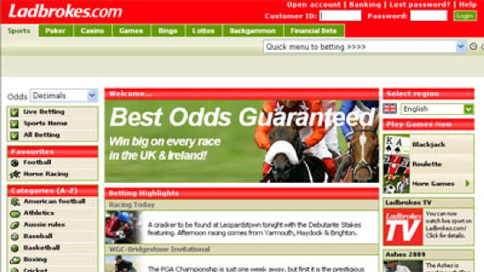 The Ladbrokes website