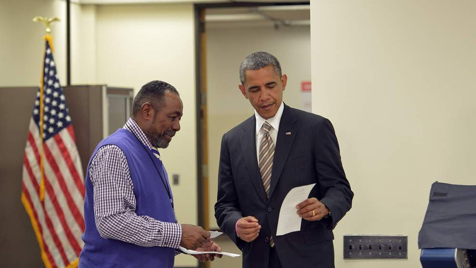 President Barack Obama at a polling station in Chicago