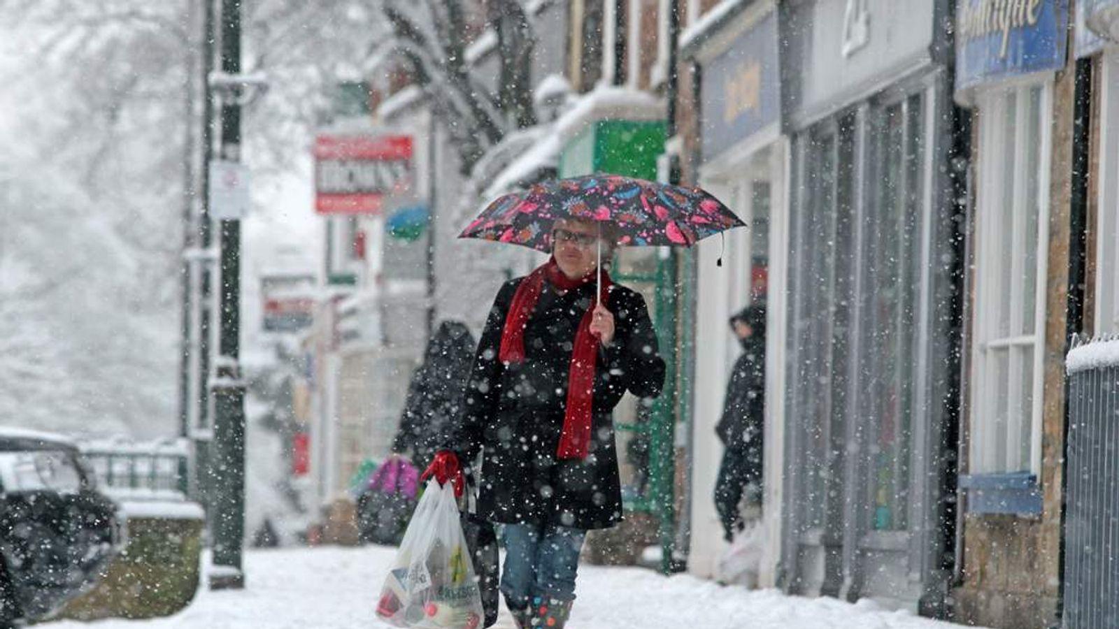 A shopper in snow