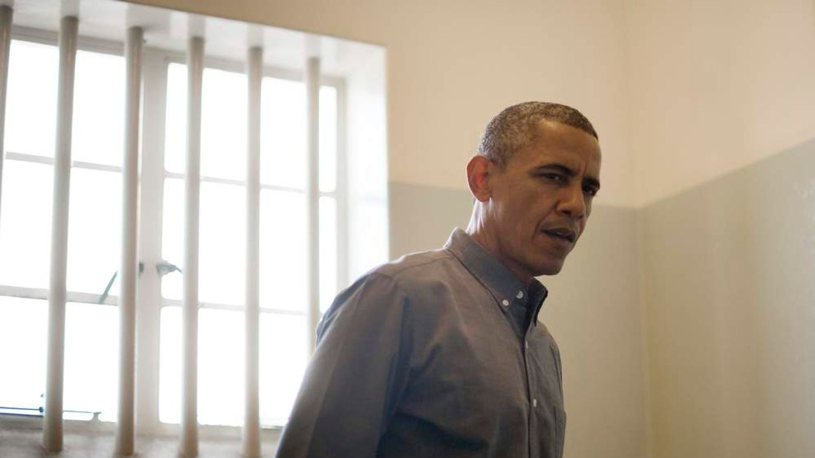 Barack Obama visits Nelson Mandela's prison cell on Robben Island