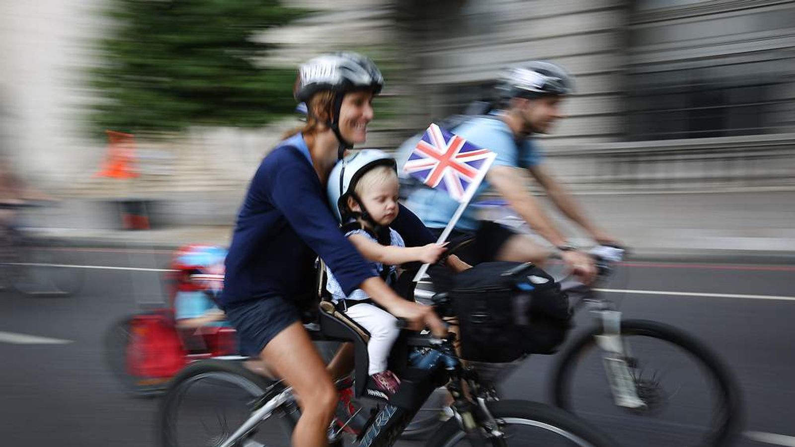 Cyclists take part in the RideLondon Freecycle event