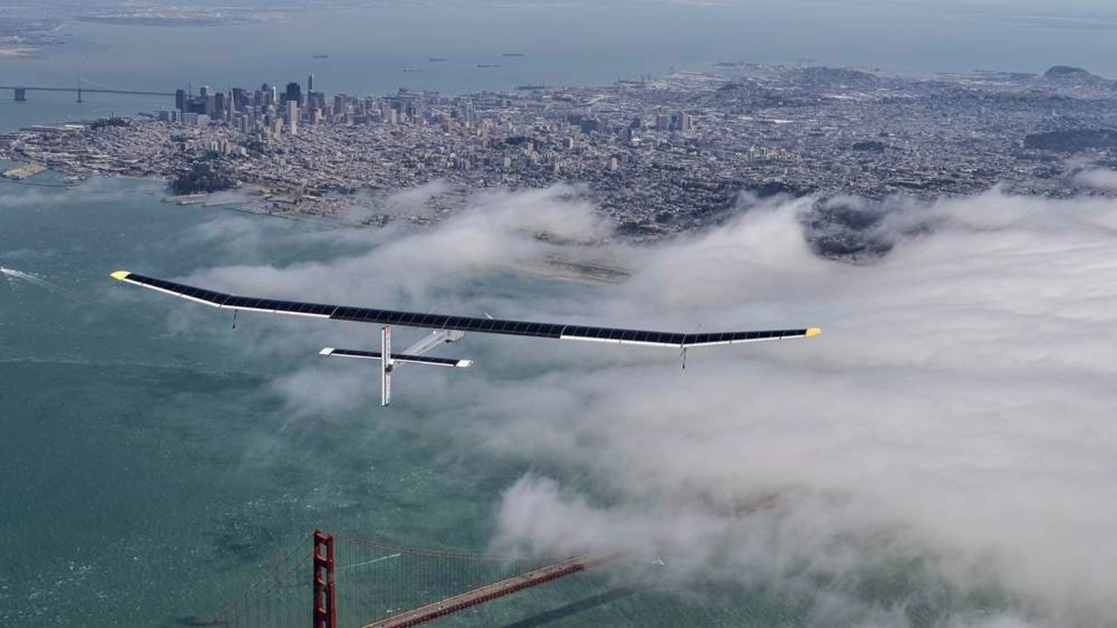 Solar Plane Flies Over San Francisco