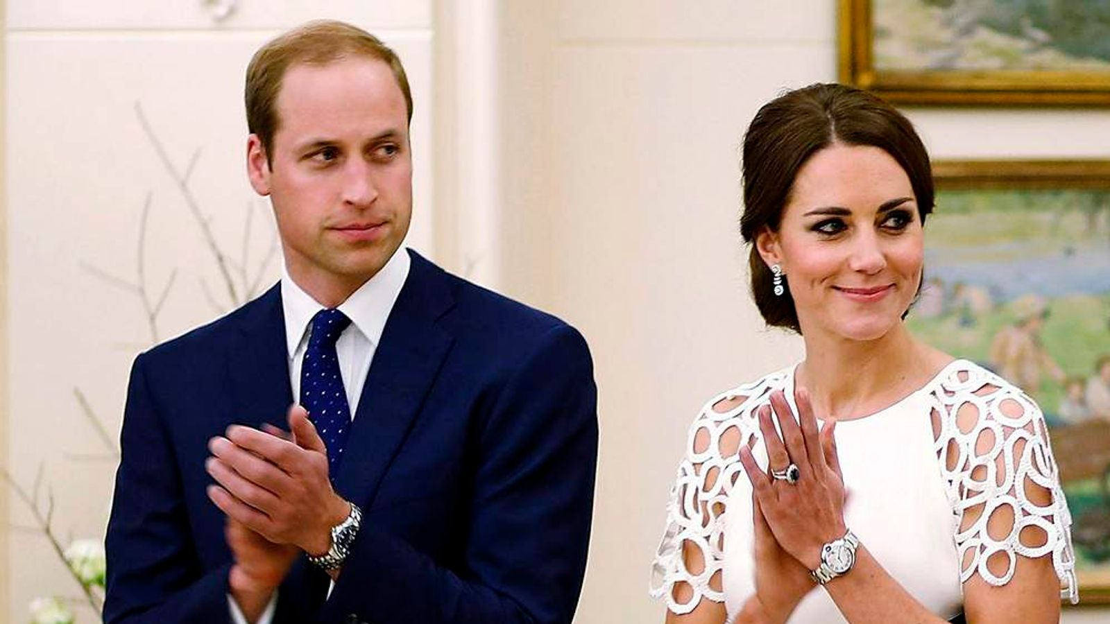 Britain's Prince William and Catherine, Duchess of Cambridge, attend a reception at Government House in Canberra