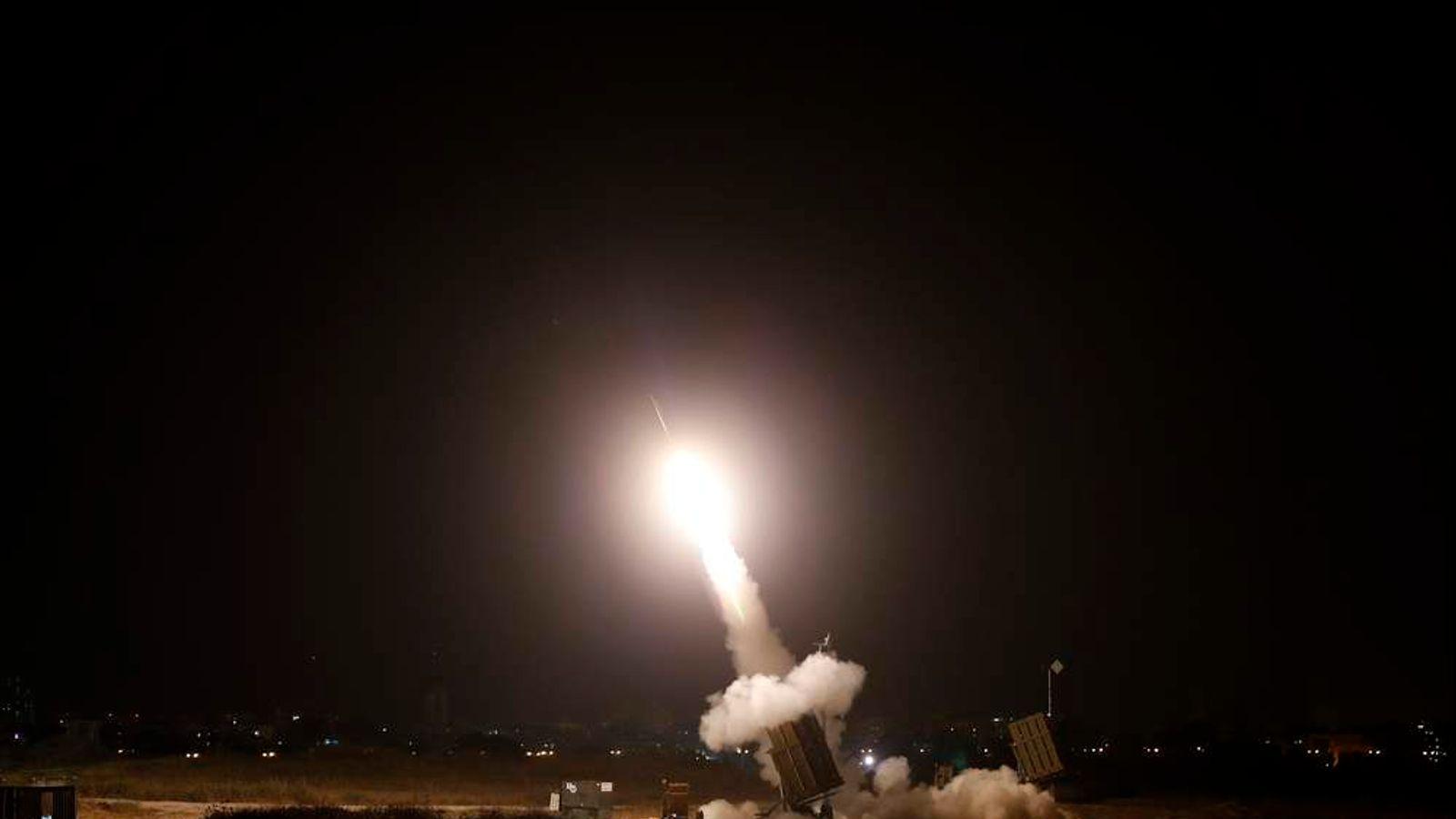An Iron Dome launcher fires an interceptor rocket in Ashdod