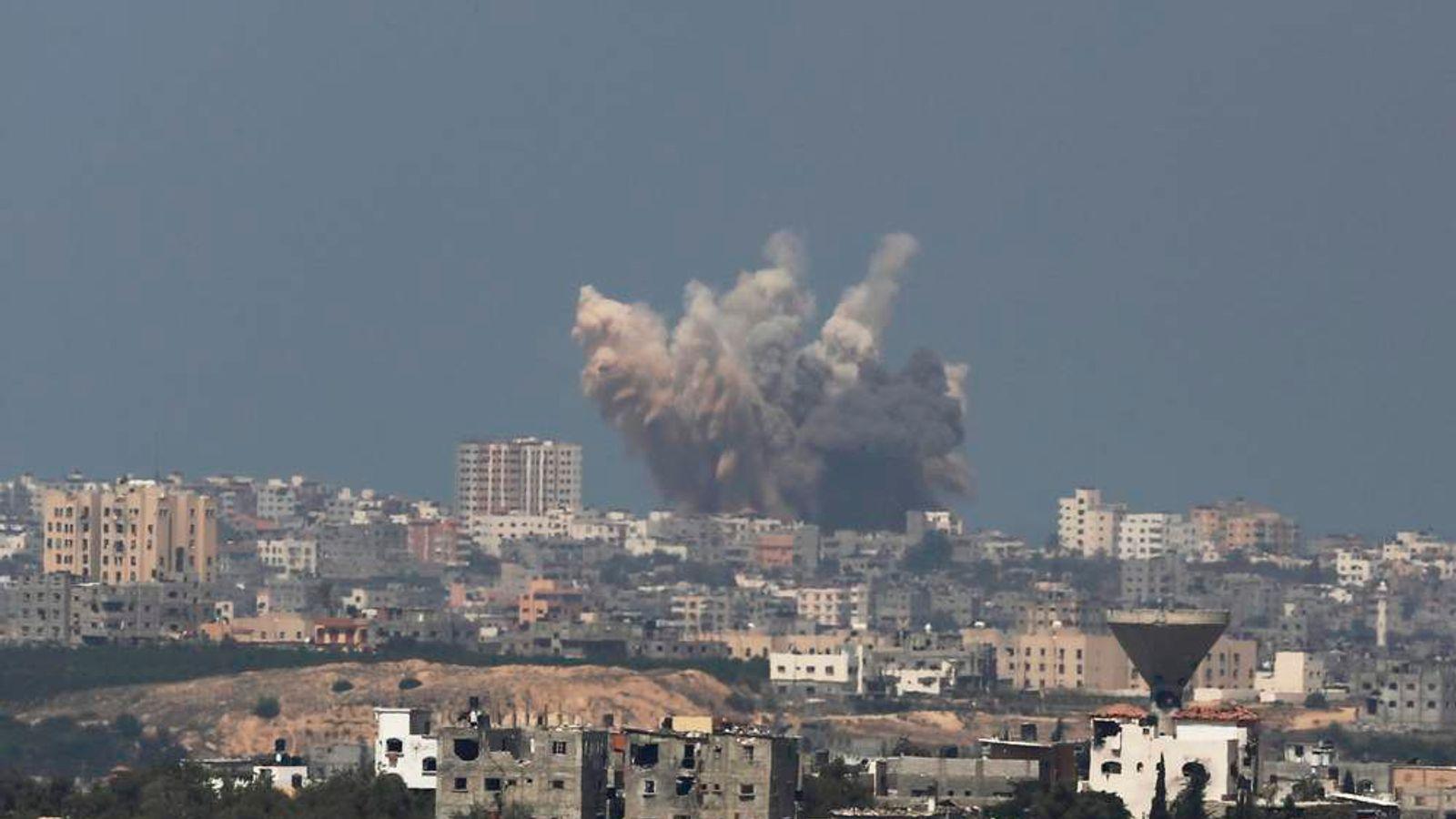Smoke rises in the Gaza Strip after an Israeli strike