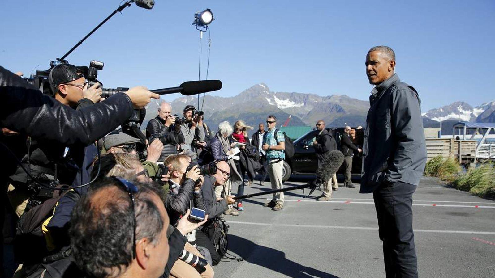 Obama delivers remarks before taking a boat tour of Kenai Fjords National Park in Seward, Alaska