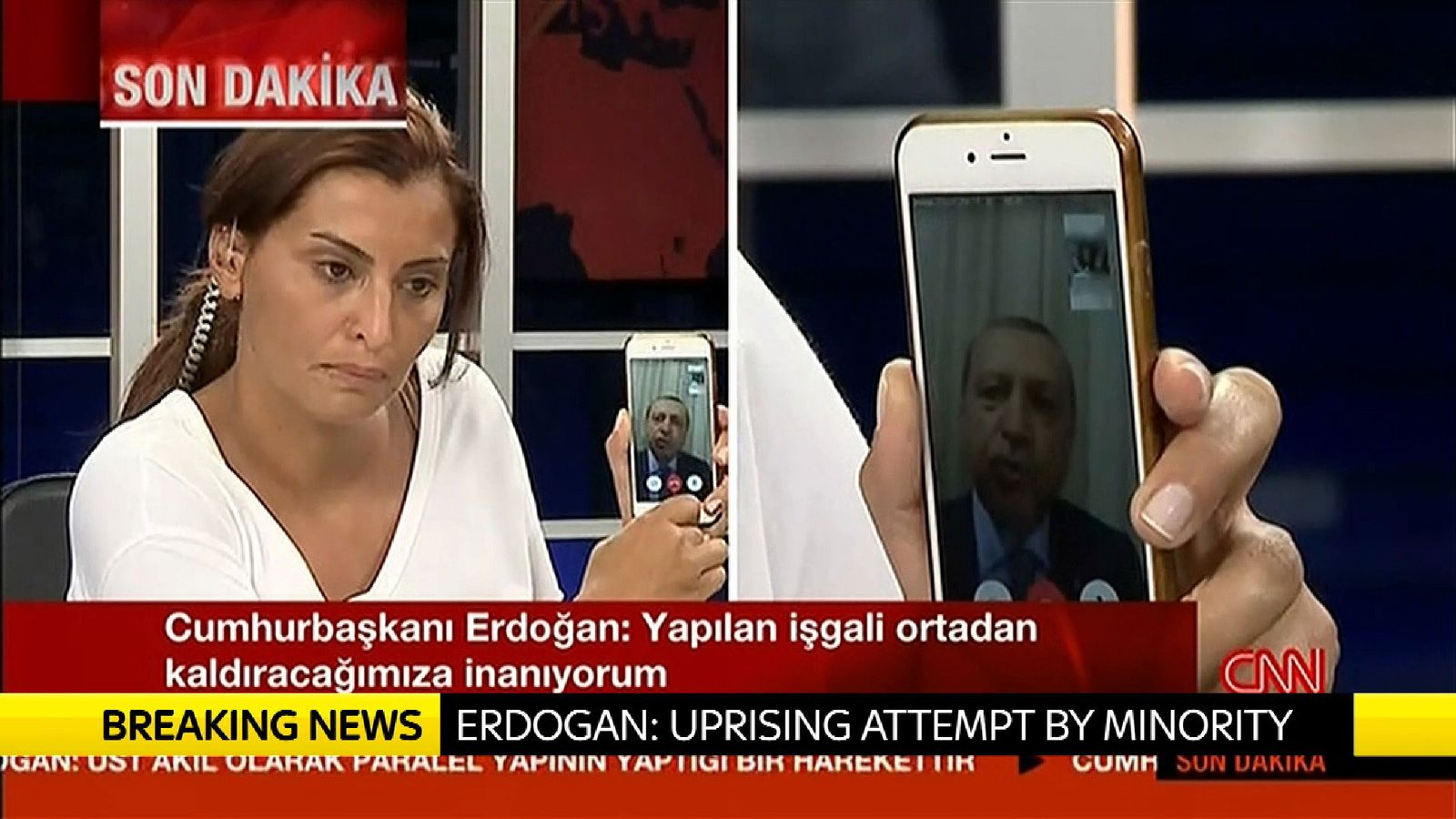 Turkish president Erdogan speaking to CNN Turk on Facetime