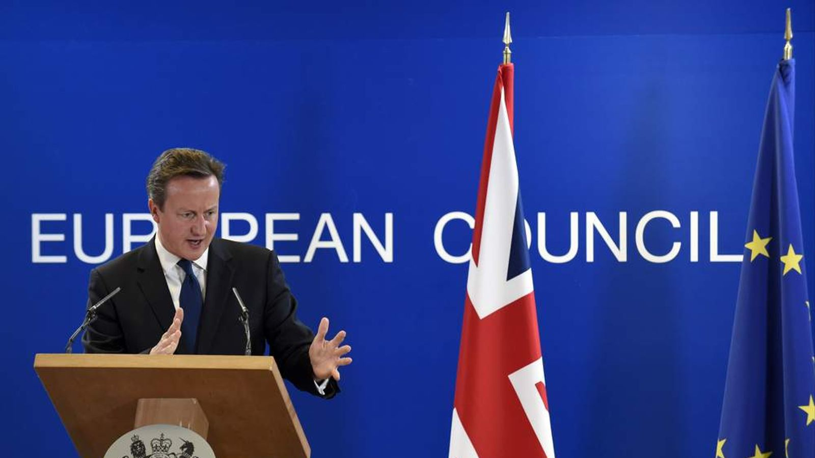 David Cameron gives a press conference on the second day of the EU Summi