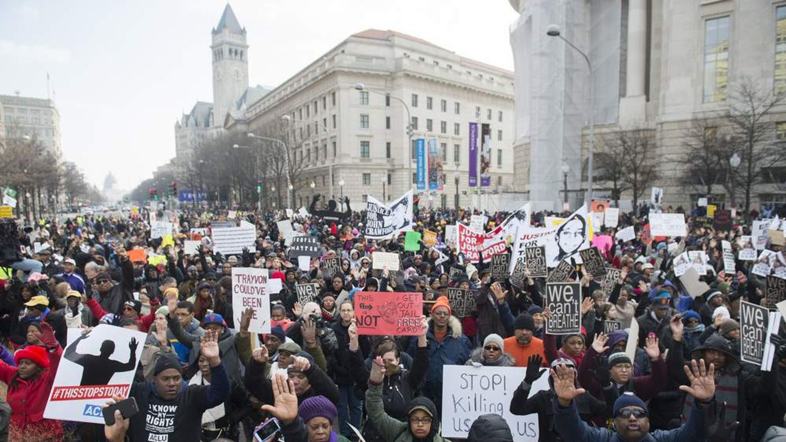 Protest in Washington against police shootings of black Americans