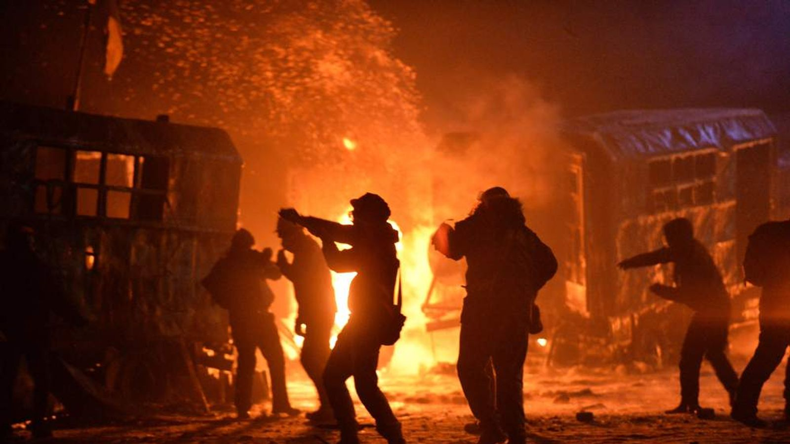 People engulfed in fire in Ukraine