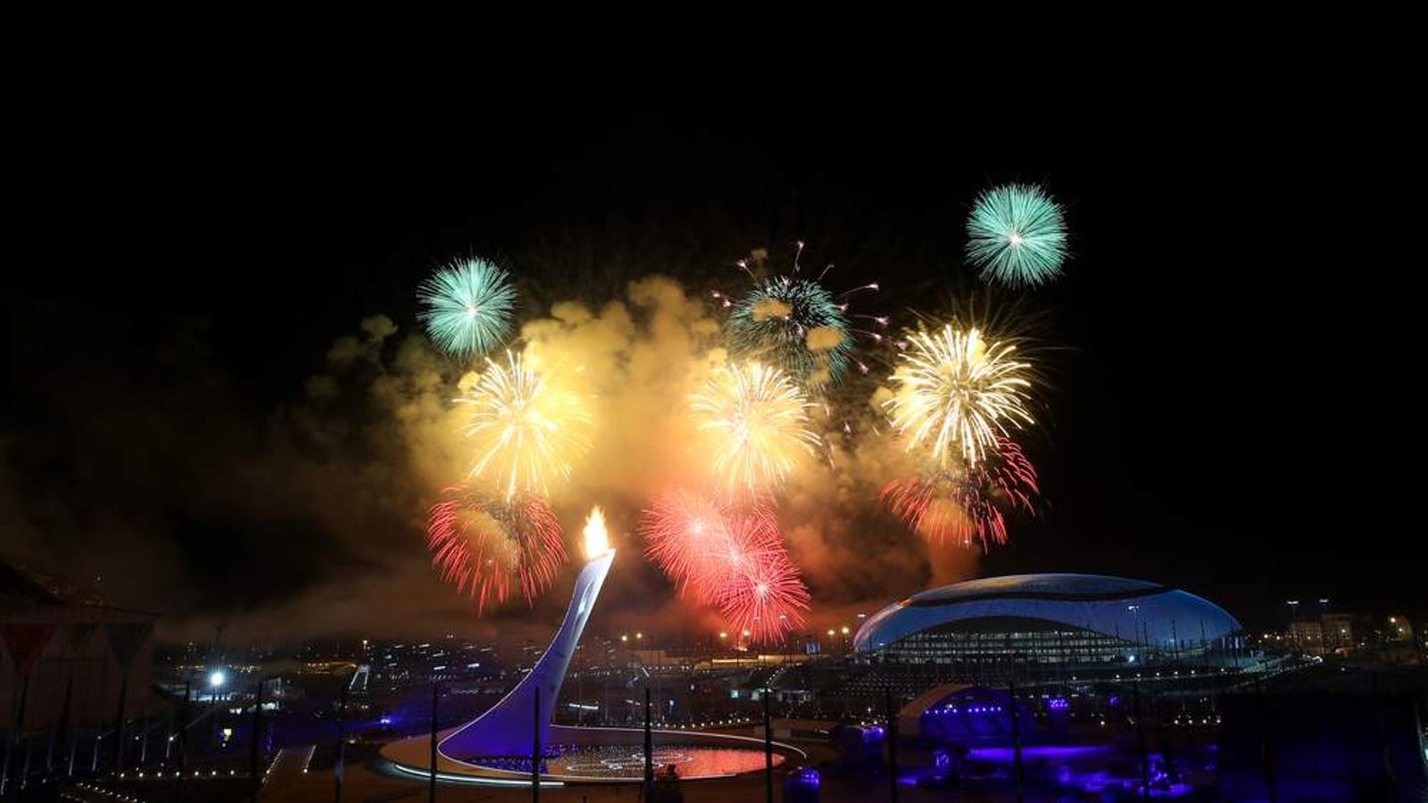 Fireworks burst over the Fisht Olympic Stadium for the opening ceremony of the Sochi Winter Olympics.