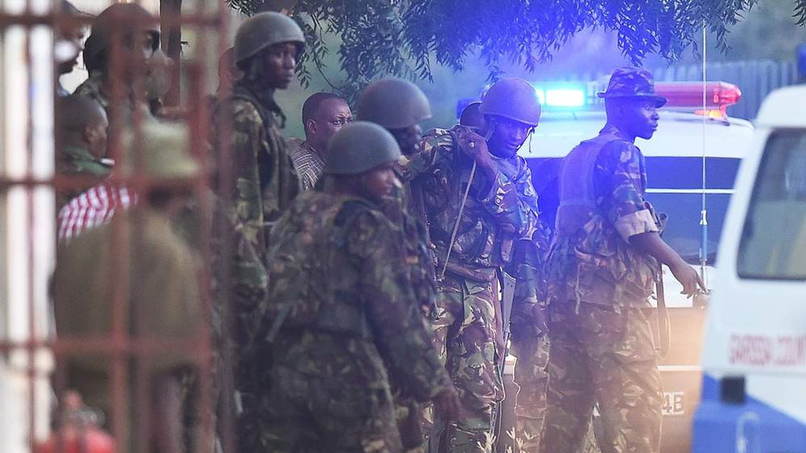 Kenya Defence Forces are pictured after they ended a siege by gunmen in the university on April 2, 2015 in the northeastern town of Garissa.
