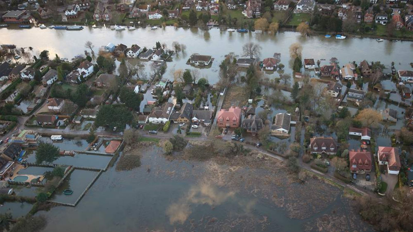 Floodwaters in UK after winter storms