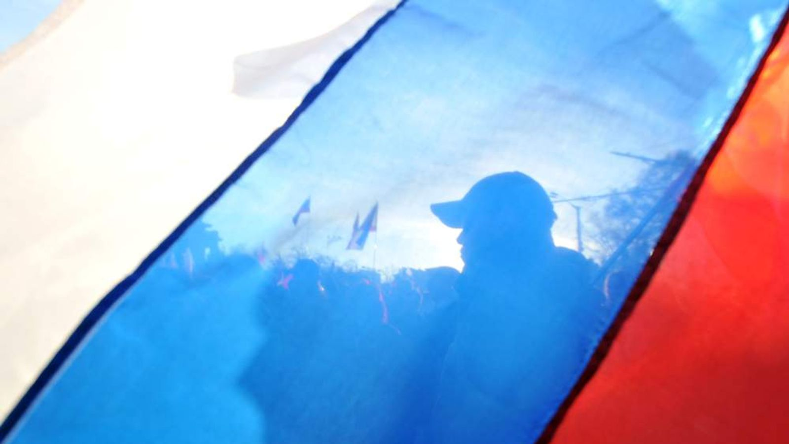 Pro-Russian activists seen during a rally in Crimea