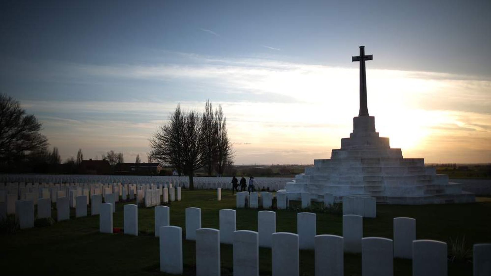 Gravestones at the Tyne Cot World War One cemetery in Belgium