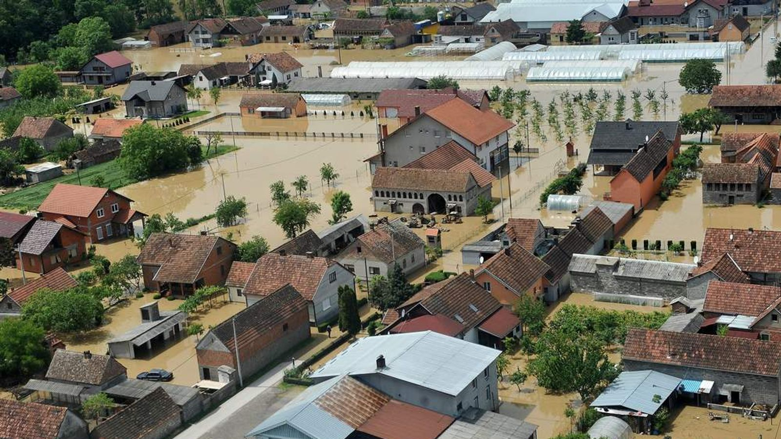 An aerial view shows a flooded area near the Northern-Bosnian town of Orasje