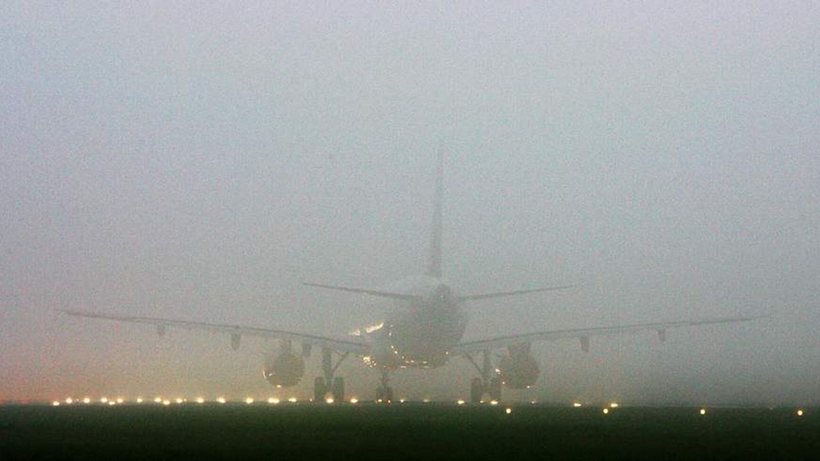 An aircraft is enveloped by fog in Heathrow. (File picture)