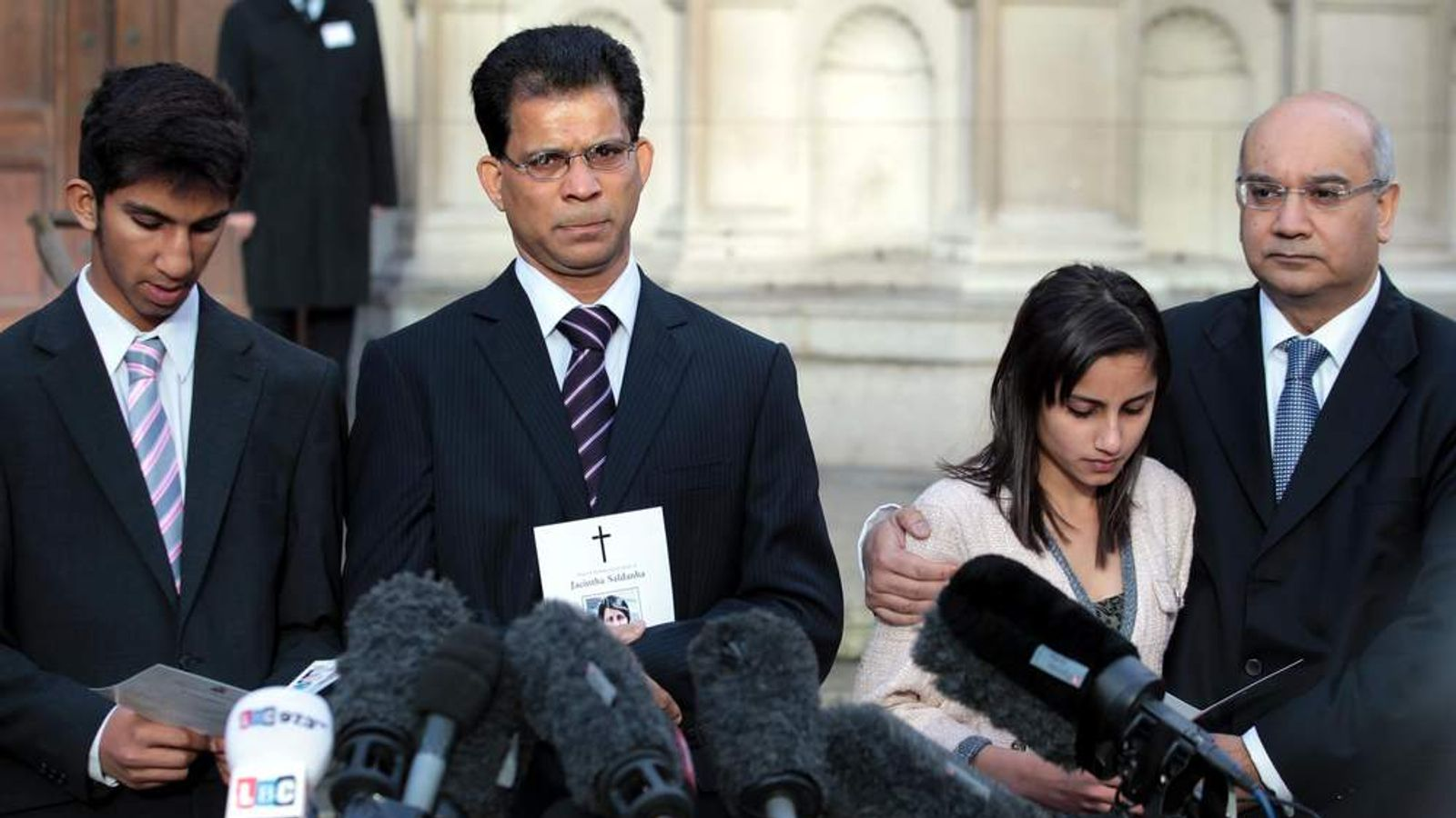 The family of nurse Jacintha Saldanha speak outside Westminster Cathedral