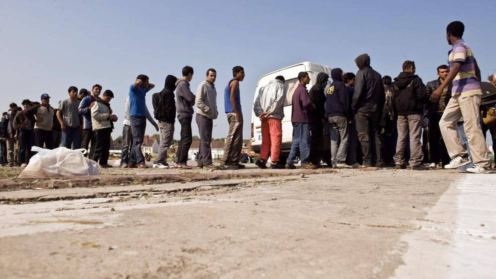 Migrants trying to get to Britain from Calais