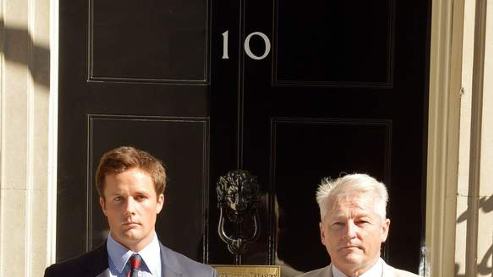 Alexander Perkins and Tim Collins outside No10